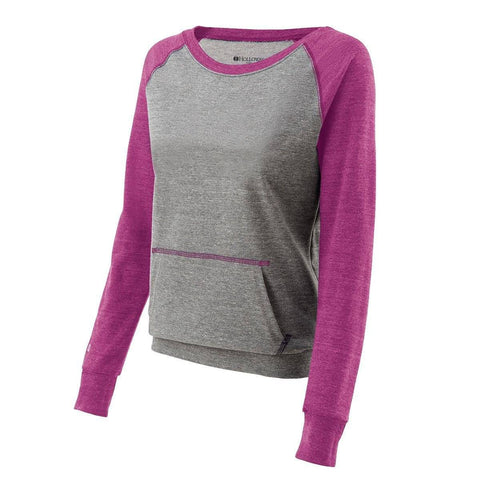 Holloway 229344 Juniors Candid Crew - Vintage Gray Vintage Pink - HIT A Double