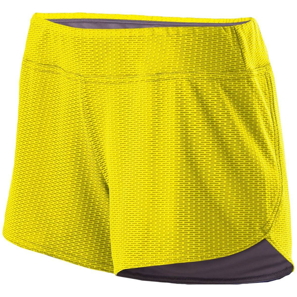 Holloway 229369 Ladies Boundary Short - Bright Yellow Graphite - HIT A Double