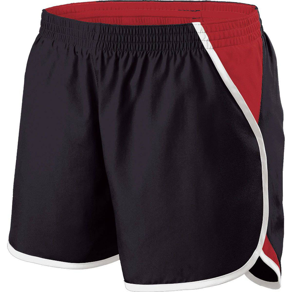 Holloway 229425 GirlS Energize Short - Black Scarlet White - HIT A Double