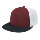 Cap America i8501 Flexfit Performance Trucker Mesh Back Cap - Maroon Black White - HIT A Double
