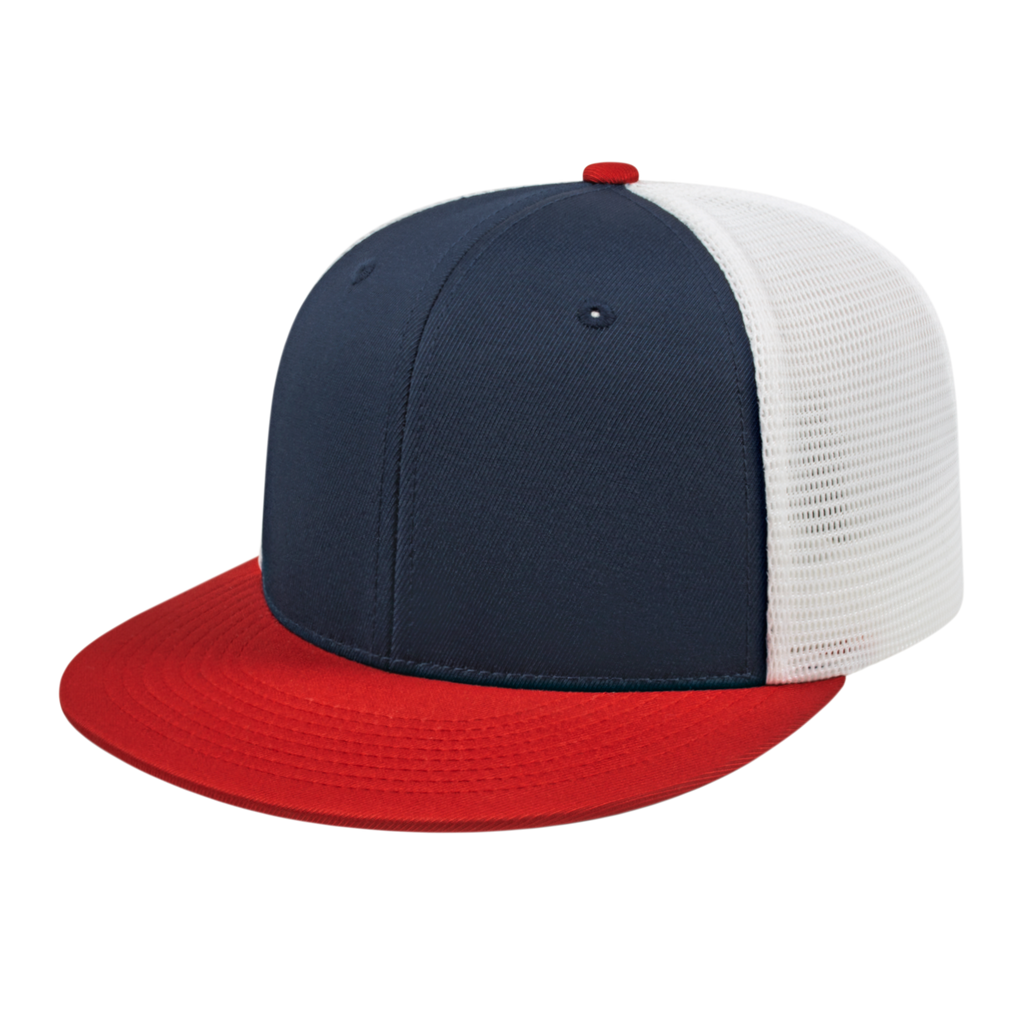 Cap America i8501 Flexfit Performance Trucker Mesh Back Cap - Navy Red White - HIT A Double