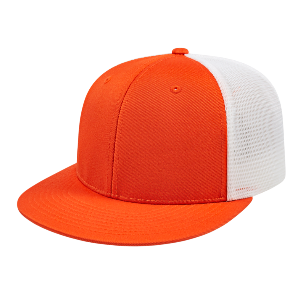 Cap America i8501 Flexfit Performance Trucker Mesh Back Cap - Orange White