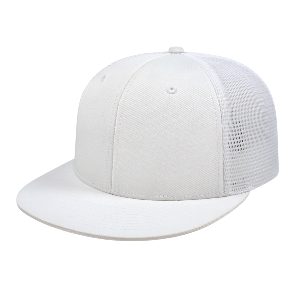 Cap America i8501 Flexfit Performance Trucker Mesh Back Cap - White - HIT A Double