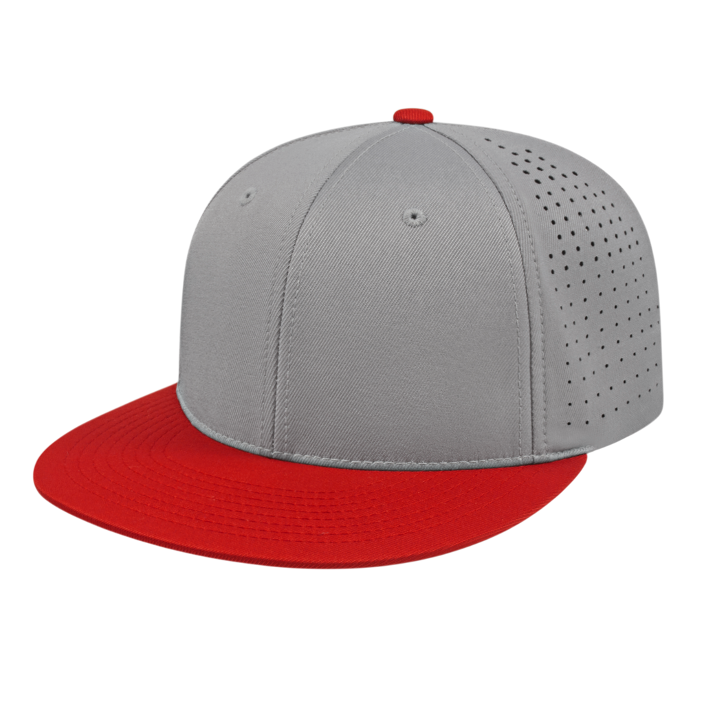 Cap America i8503 Flexfit Perforated Performance Cap - Silver Red - HIT A Double
