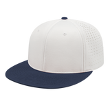 Cap America i8503 Flexfit Perforated Performance Cap - White Navy - HIT A Double