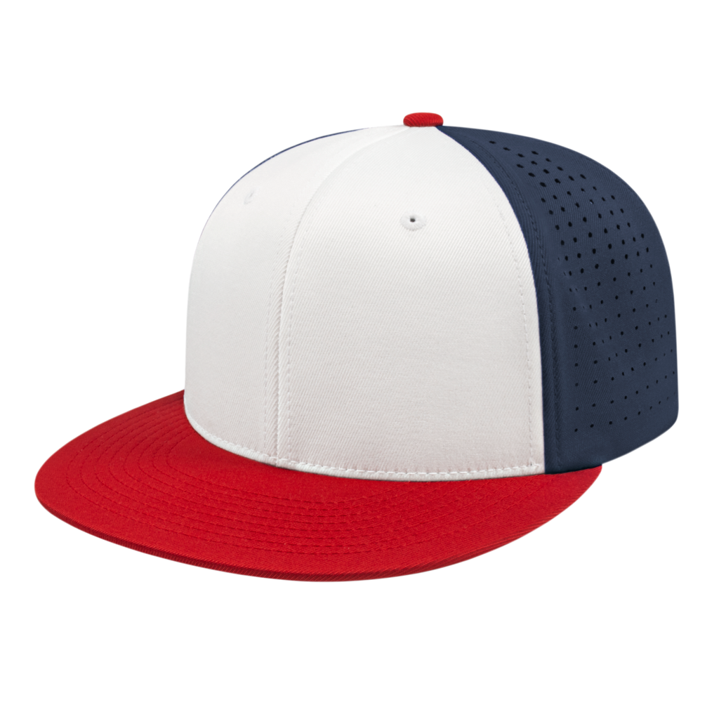 Cap America i8503 Flexfit Perforated Performance Cap - White Red Navy - HIT A Double