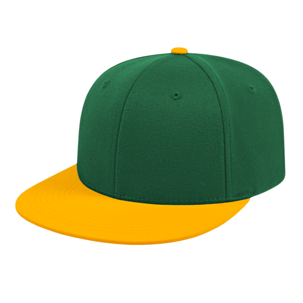 Cap America i8504 Flexfit Wool Blend Performance Cap - Dark Green Athletic Gold