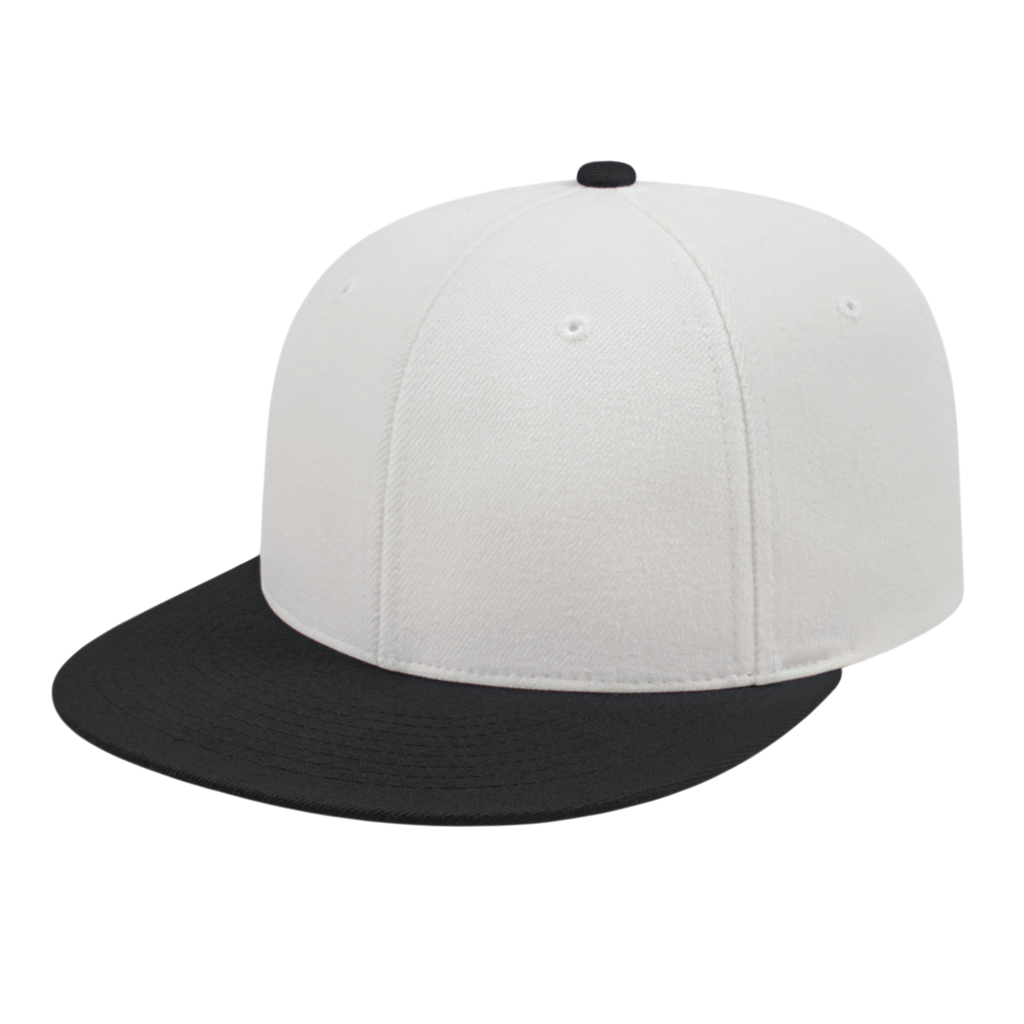 Cap America i8504 Flexfit Wool Blend Performance Cap - White Black - HIT A Double