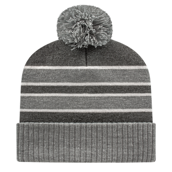 Cap America IK56-Double Stripe Knit Cap with Ribbed Cuff Beanie - Heather Dark Hather White