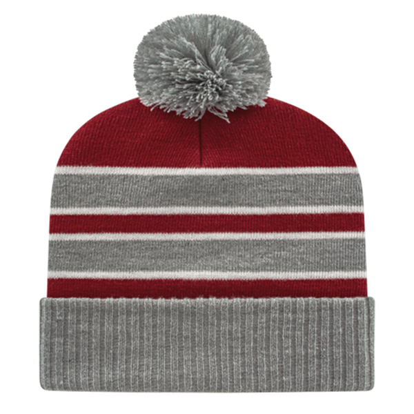 Cap America IK56-Double Stripe Knit Cap with Ribbed Cuff Beanie - Heather Maroon White