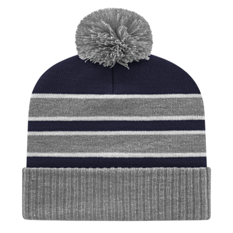 Cap America IK56-Double Stripe Knit Cap with Ribbed Cuff Beanie - Heather Navy White