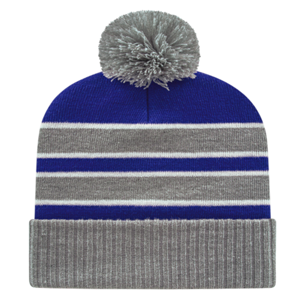 Cap America IK56-Double Stripe Knit Cap with Ribbed Cuff Beanie - Heather Royal White