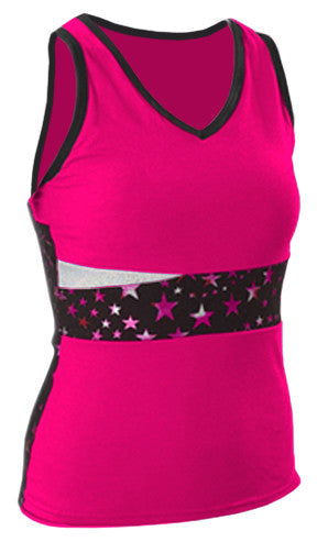 Pizzazz Superstar Panel Top with  Keyhole Back - Hot Pink