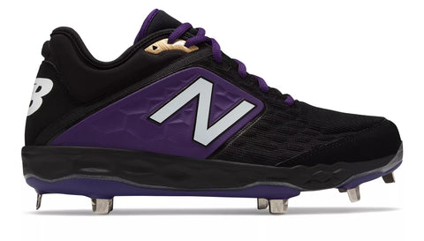 New Balance 3000v4 Fresh Foam Metal Cleats Low Cut - Black Purple