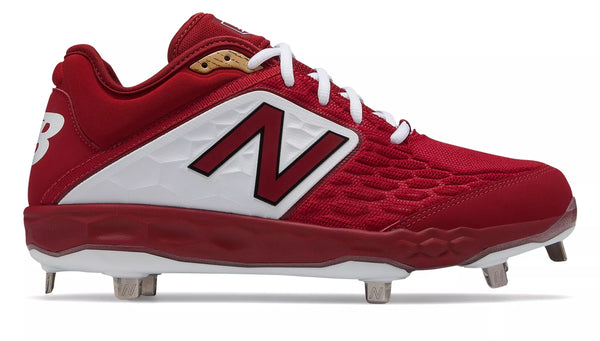 New Balance 3000v4 Fresh Foam Metal Cleats Low Cut - Maroon white