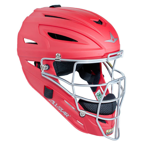 All-Star Adult System 7 Catcher's Helmet - Scarlet - Baseball Gloves - Hit A Double