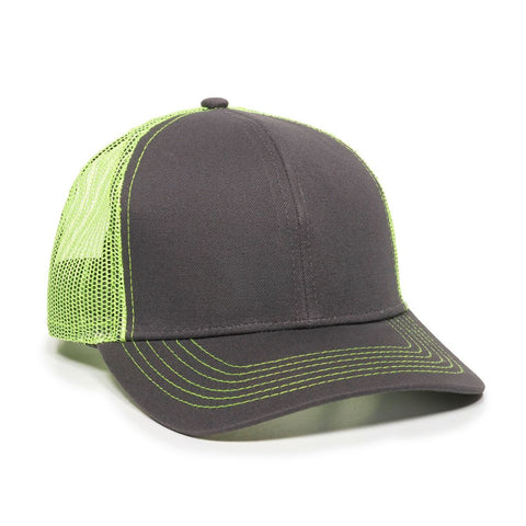 OC Sports MBW-600 Team Adjustable Mesh Back Ball Cap - Charcoal Neon Yellow