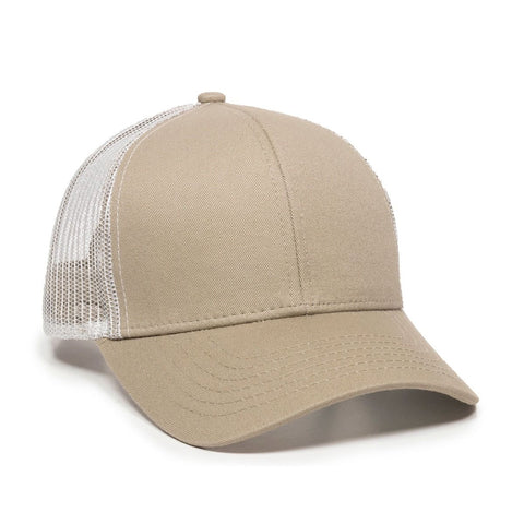 OC Sports MBW-600 Team Adjustable Mesh Back Ball Cap - Khaki White