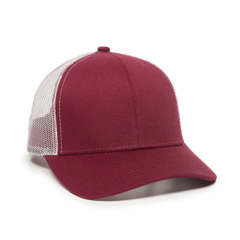 OC Sports MBW-600 Team Adjustable Mesh Back Ball Cap - Maroon White