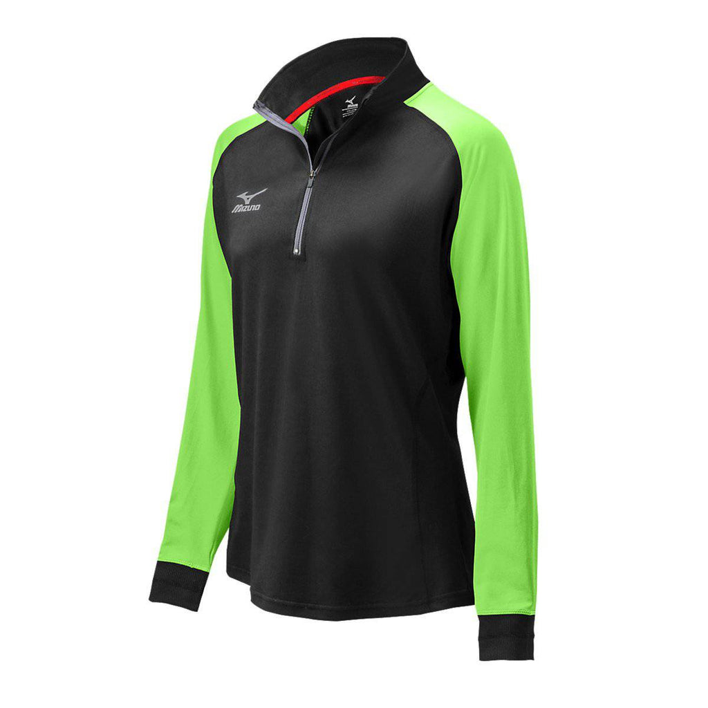 Mizuno Elite 9 Prime 1/2 Zip Jacket - Black Electric Green - HIT A Double
