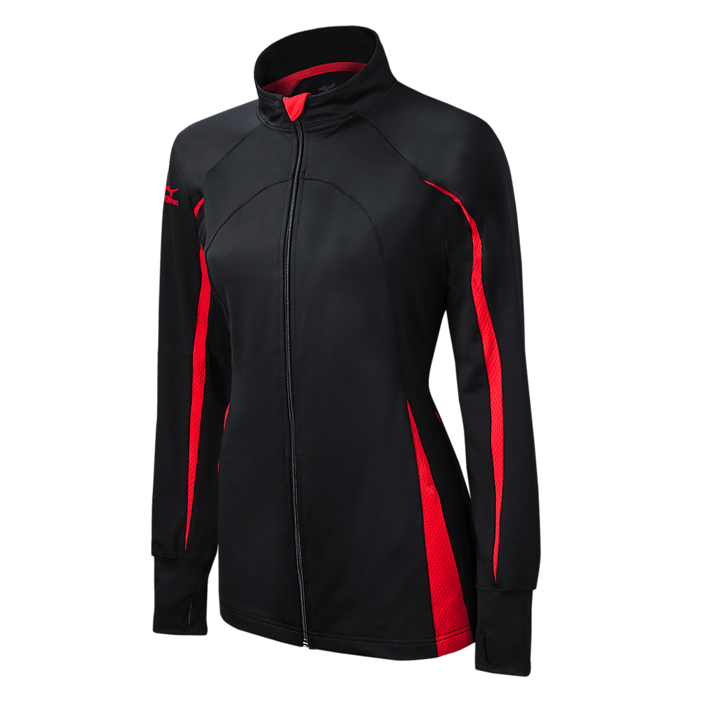 Mizuno Nine Collection: Focus Girl's Full Zip Jacket - Black Red - HIT A Double