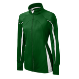 Mizuno Nine Collection: Focus Girl's Full Zip Jacket - forest, White - HIT A Double