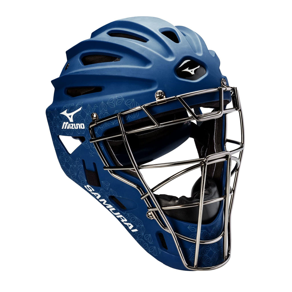 Mizuno Samurai Fastpitch Catcher's Helmets - Navy - HIT A Double
