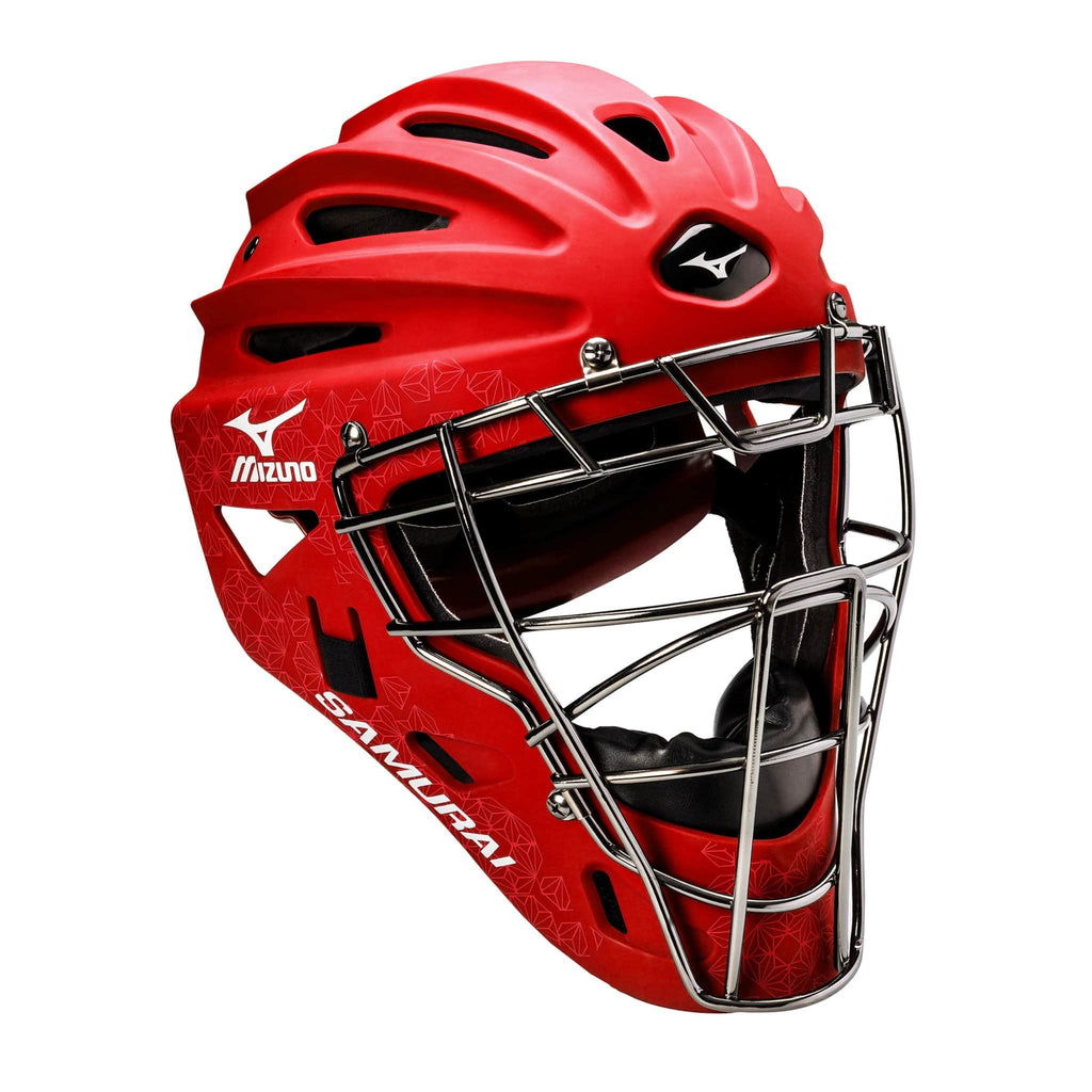 Mizuno Samurai Fastpitch Catcher's Helmets - Red - HIT A Double