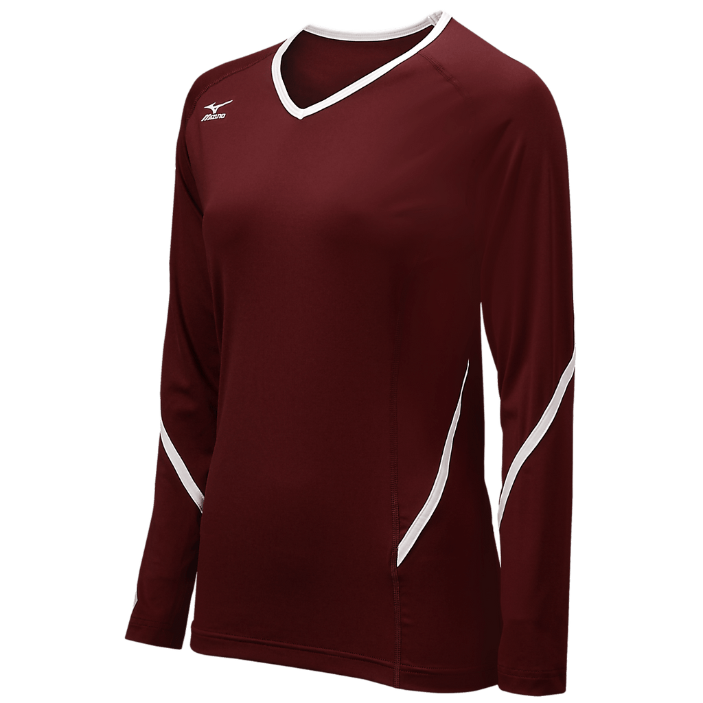 Mizuno Techno Generation Girl's Long Sleeve - cardinal, White - HIT A Double