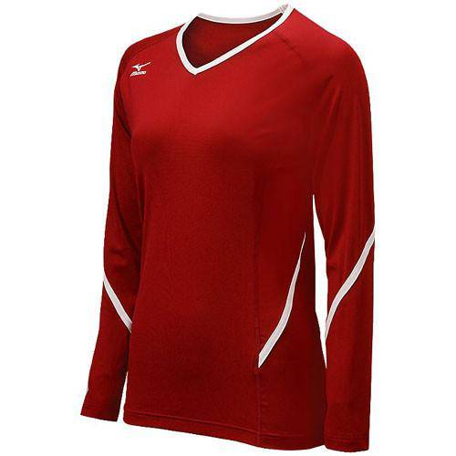 Mizuno Techno Generation Long Sleeve Red White - HIT A Double