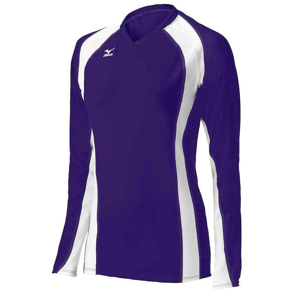 Mizuno Techno Volley V Long Sleeve Jersey - Purple White - HIT A Double