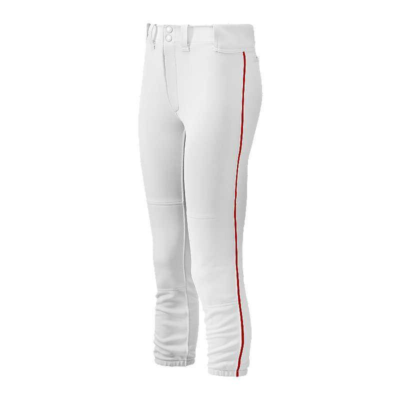 Mizuno Women's Select Belted Piped Pant - White Red - HIT A Double