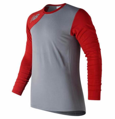 New Balance Seamless X4J Asymmetrical Shirt Right - Red - Baseball Apparel - Hit A Double - 1