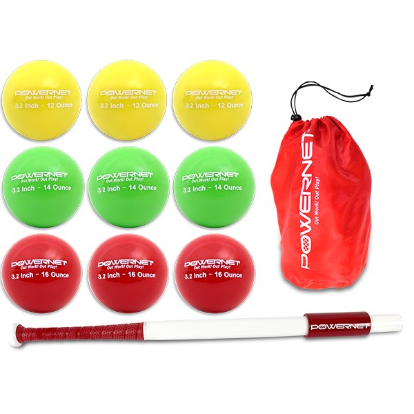 "PowerNet Sweet Spot 34"" Training Bat and 2.8"" Progressive Weighted Ball (9 Pack) - Bundle"