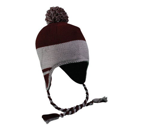 OC Sports KNW-595 Cold Weather Peruvian Hat - Maroon Lt. Gray