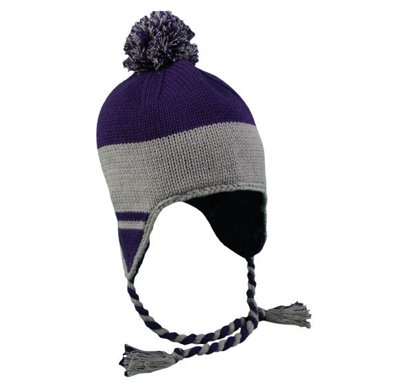 OC Sports KNW-595 Cold Weather Peruvian Hat - Purple Light Gray