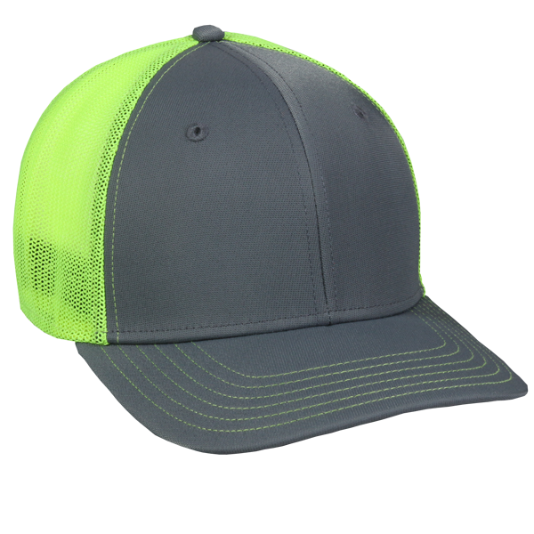 OC Sports CT120M Extra-flexible Slight Pre-curved Visor - Graphite Neon Yellow