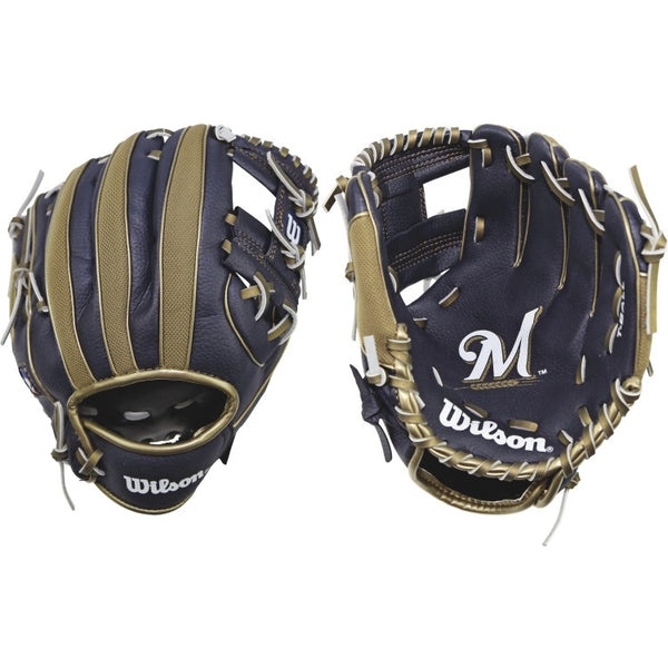 "Wilson A200 Brewers 10.00"" T-Ball Glove WTA02RB16MIL - Baseball Gloves - Hit A Double - 1"