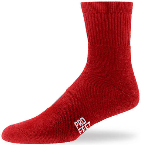 Pro Feet 284 Performance Multi-Sport Mid Crew - Scarlet - Basketball, Baseball Apparel, Soccer, Softball Apparel, Football, Casual Wear, Training/Running - Hit A Double