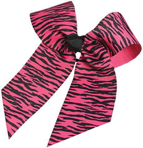 Pizzazz Animal Print Hair Bow - Hot Pink Zebra