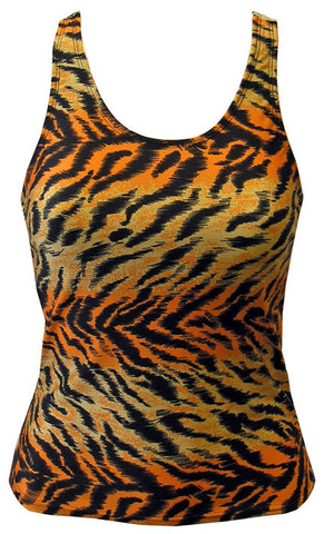 Pizzazz Animal Print Racer Back Top - Tiger