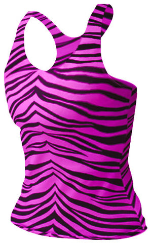 Pizzazz Animal Print Racer Back Top - Hot Pink Zebra