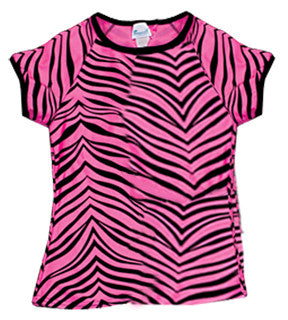 Pizzazz Animal Print Raglan Sleeve - Hot Pink Zebra