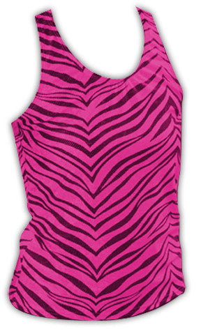 Pizzazz Zebra Glitter Racer Back Tops - Hot Pink