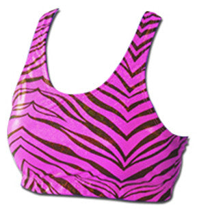 Pizzazz Zebra Glitter Sports Bras - Hot Pink