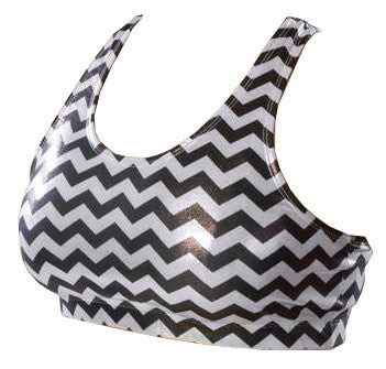 Pizzazz Chevron Metallic Sports Bras - Metallic Silver