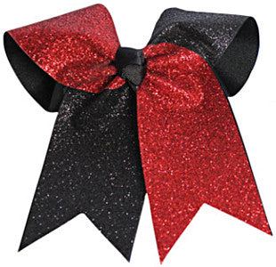 Pizzazz Glitter Twister Hair Bow - Red Black