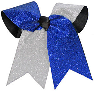Pizzazz Glitter Twister Hair Bow - Royal Silver