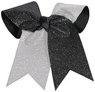 Pizzazz Glitter Twister Hair Bow - Silver Black