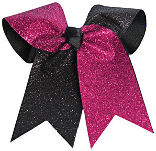 Pizzazz Glitter Twister Hair Bow - Hot Pink Black